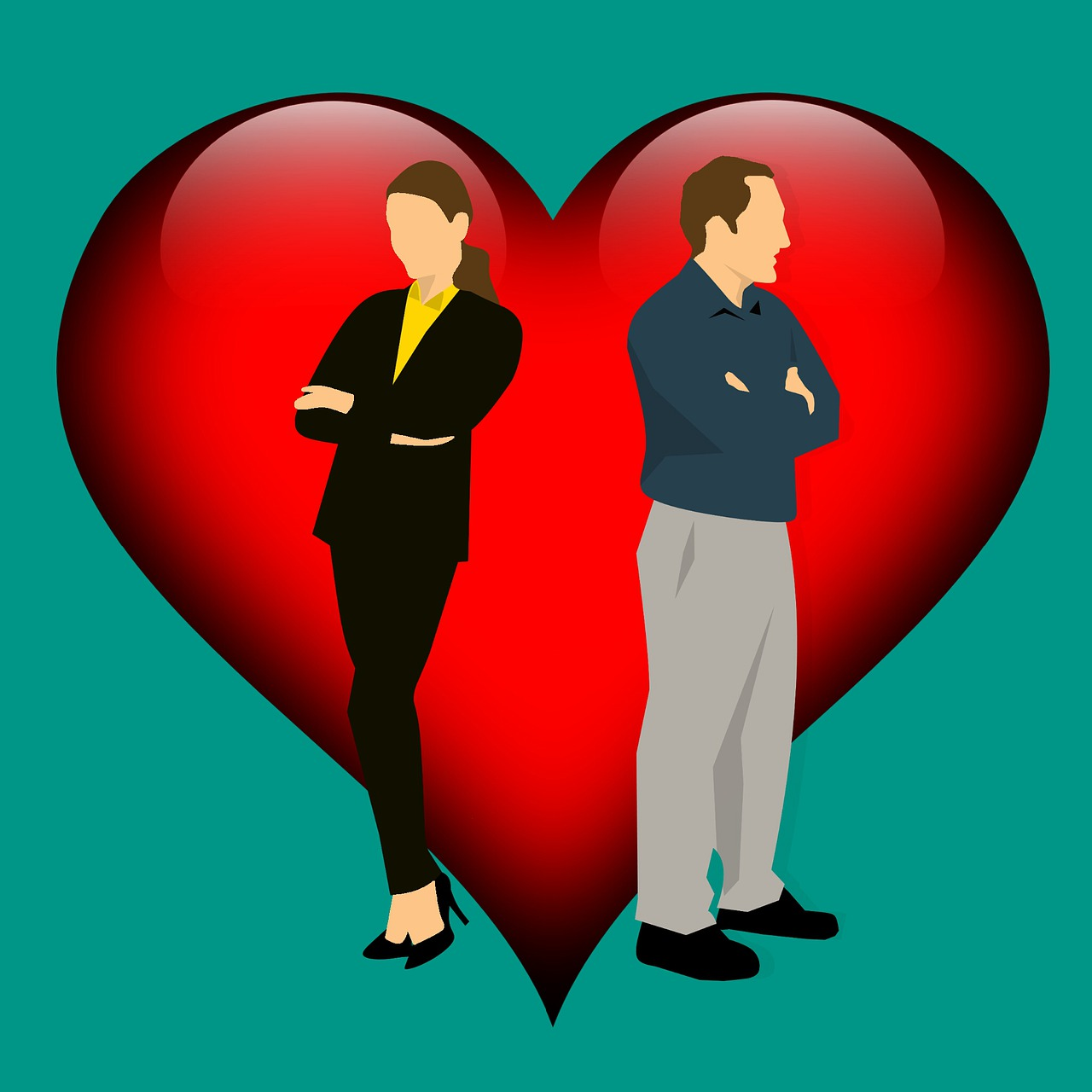 לב ושני אנשים